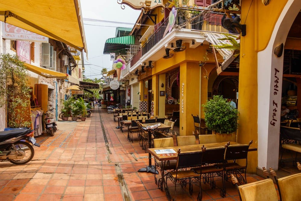 View of Pub Street in Siem Reap Cambodia