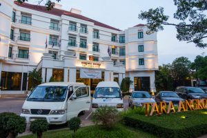 View of the front of the Tara Angkor Hotel in Siem Reap Cambodia