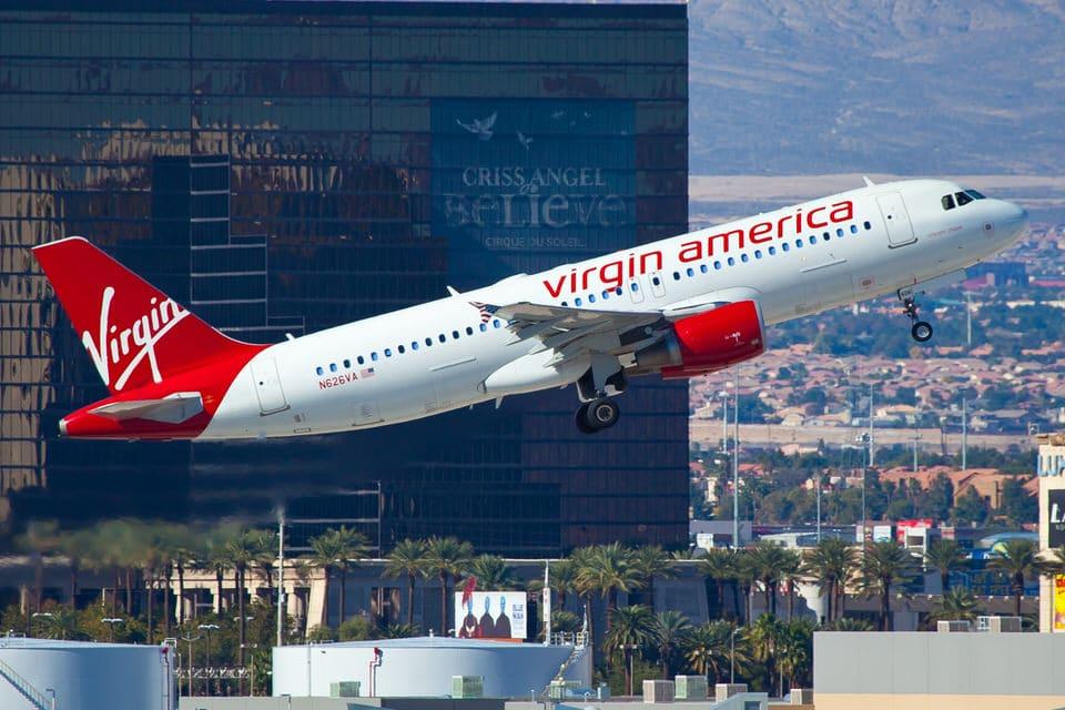 Virgin America plane taking off