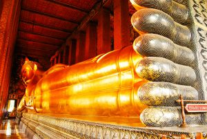 The reclining buddha at Wat Pho in Bangkok, Thailand